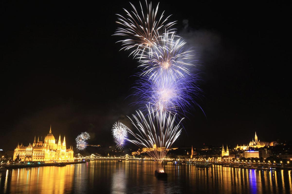 Spectacular fireworks on the occasion of St. Stephen's Day in Budapest, Hungary