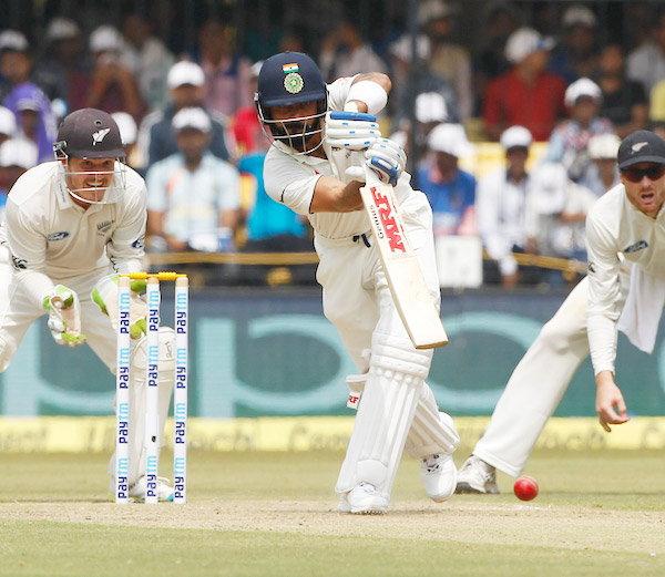 INDvsNZ Live : विराट कोहली ने लगाई 13th टेस्ट Century, रहाणे की Fifty