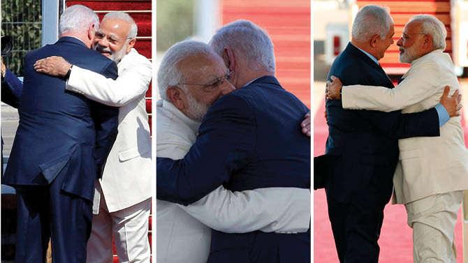 तीन बार मोदी के गले मिलकर हिंदी में बोले इजरायली PM- स्वागत है दोस्त