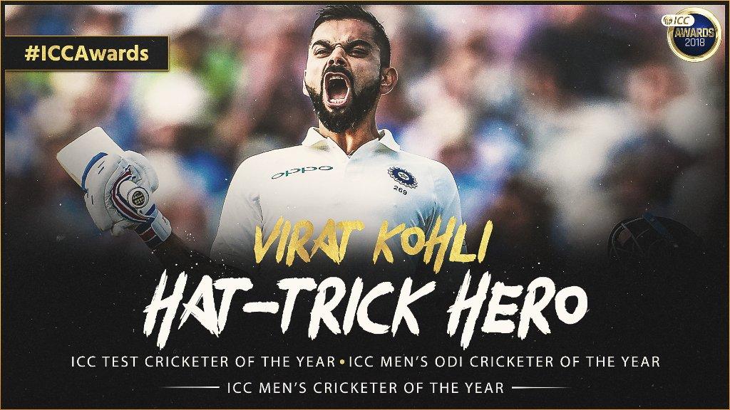 क्रिकेटर ऑफ़ द इयर में 'कोहली की हैट्रिक'